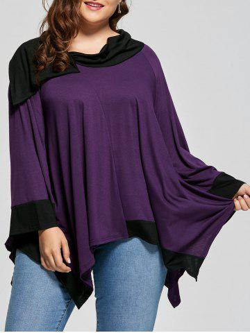 New Two Tone Asymmetric Long Sleeve Plus Size Tee