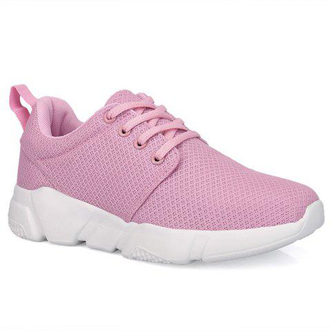 Eyelets Breathable Mesh Athletic Shoes - Pink - 37