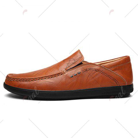 Buy Faux Leather Slip On Casual Shoes - 43 BROWN Mobile