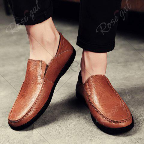 Shops Faux Leather Slip On Casual Shoes - 43 BROWN Mobile