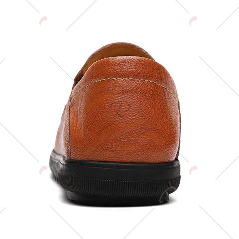 Hot Faux Leather Slip On Casual Shoes - 43 BROWN Mobile