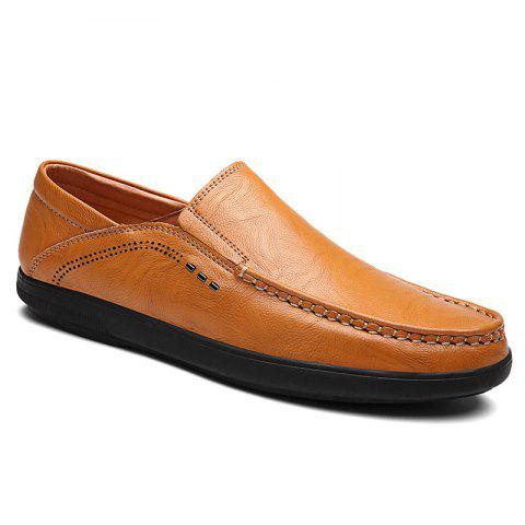 Faux Leather Slip On Casual Shoes - Yellow - 40