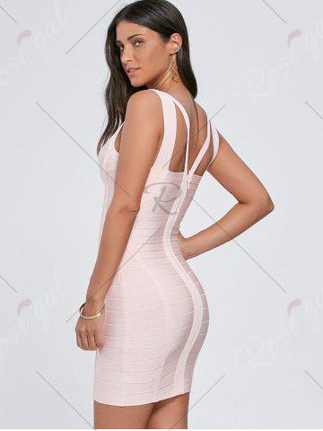 New Cut Out Sleeveless V Neck Bandage Dress - S PINK Mobile