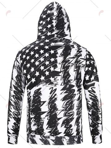 Trendy American Flag Scrawl Pullover Hoodie - 3XL WHITE AND BLACK Mobile