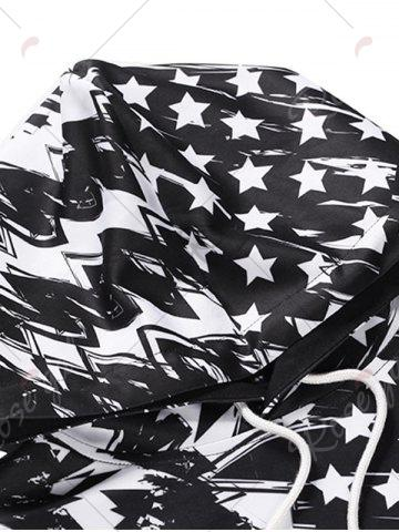 Online American Flag Scrawl Pullover Hoodie - 3XL WHITE AND BLACK Mobile