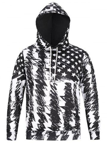Fancy American Flag Scrawl Pullover Hoodie - 3XL WHITE AND BLACK Mobile