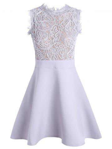 Trendy A Line Lace Insert Back Zip Dress - M GRAY Mobile