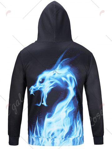 Chic Fire Dragon Print Pullover Hoodie - 3XL BLACK Mobile