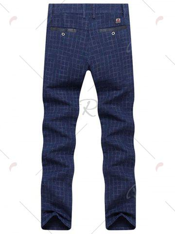 Sale Zipper Fly Checked Chino Pants - 33 ROYAL Mobile