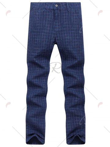 Shops Zipper Fly Checked Chino Pants - 33 ROYAL Mobile