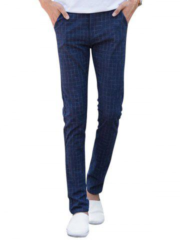 Trendy Zipper Fly Checked Chino Pants - 33 ROYAL Mobile