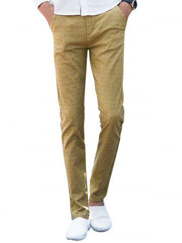 Sale Zipper Fly Checked Chino Pants - 38 KHAKI Mobile