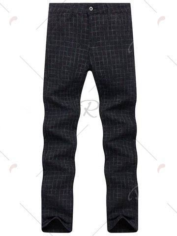 Fashion Zipper Fly Checked Chino Pants - 38 BLACK Mobile