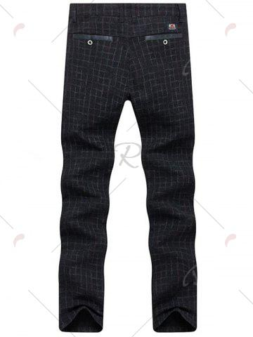 Latest Zipper Fly Checked Chino Pants - 38 BLACK Mobile
