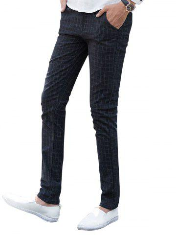 Buy Zipper Fly Checked Chino Pants BLACK 36