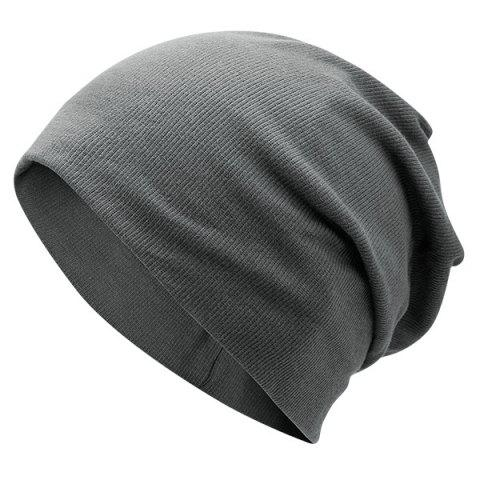 Fancy Fall Plain Knitted Pinstripe Beanie - DEEP GRAY  Mobile