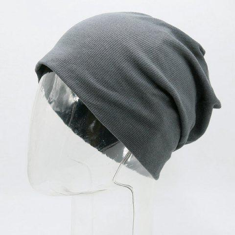 Store Fall Plain Knitted Pinstripe Beanie - DEEP GRAY  Mobile