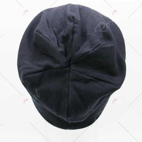 Best Fall Plain Knitted Pinstripe Beanie - BLACK  Mobile