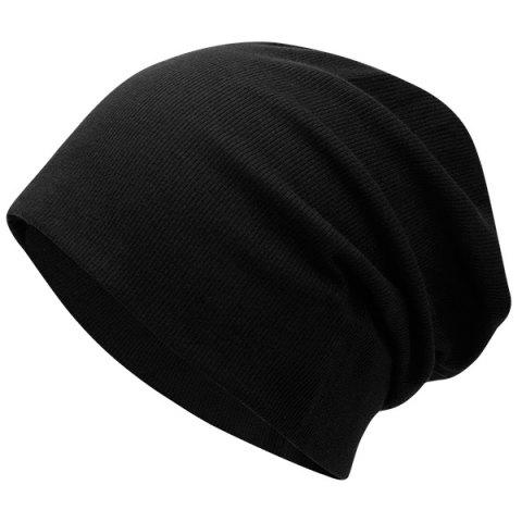 Shop Fall Plain Knitted Pinstripe Beanie - BLACK  Mobile