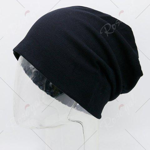 Unique Fall Plain Knitted Pinstripe Beanie - BLACK  Mobile