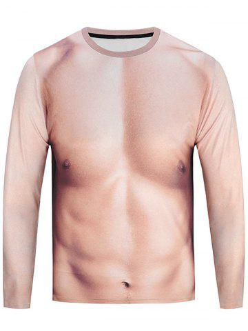 Crew Neck Muscle 3D Printed Funny Tee - Yellowish Pink - L