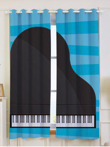 Fashion Lightproof 2Pcs Piano Pattern Window Curtains - W53 INCH * L63 INCH BLUE AND BLACK Mobile