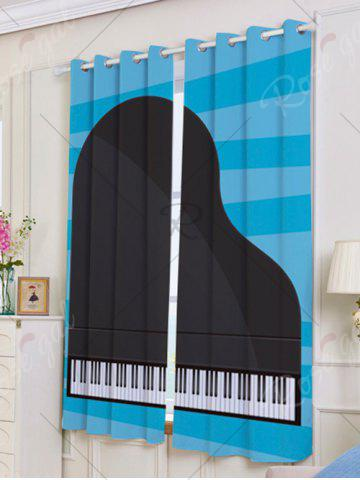 Shops Lightproof 2Pcs Piano Pattern Window Curtains - W53 INCH * L63 INCH BLUE AND BLACK Mobile