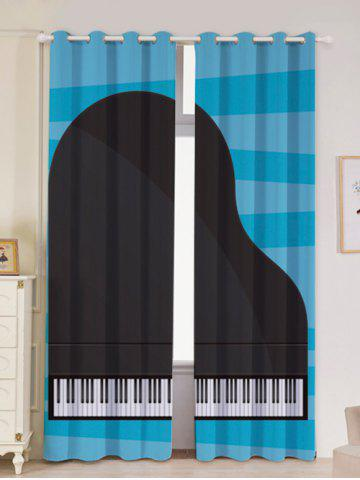 Outfit Lightproof 2Pcs Piano Pattern Window Curtains
