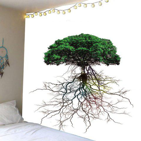 Wall Hanging Tree Roots Pattern Waterproof Tapestry - Green - W79 Inch * L79 Inch