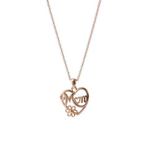Cheap Alloy Heart Flower Mom Collarbone Necklace - GOLDEN  Mobile