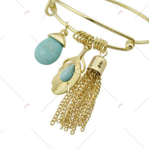 Fashion Faux Turquoise Teardrop Fringed Feather Bracelet - GOLDEN  Mobile