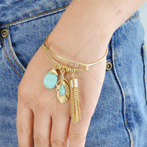 Buy Faux Turquoise Teardrop Fringed Feather Bracelet - GOLDEN  Mobile