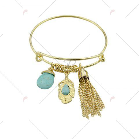 Unique Faux Turquoise Teardrop Fringed Feather Bracelet - GOLDEN  Mobile