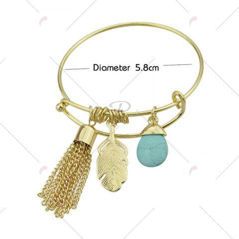 Cheap Faux Turquoise Teardrop Fringed Feather Bracelet - GOLDEN  Mobile