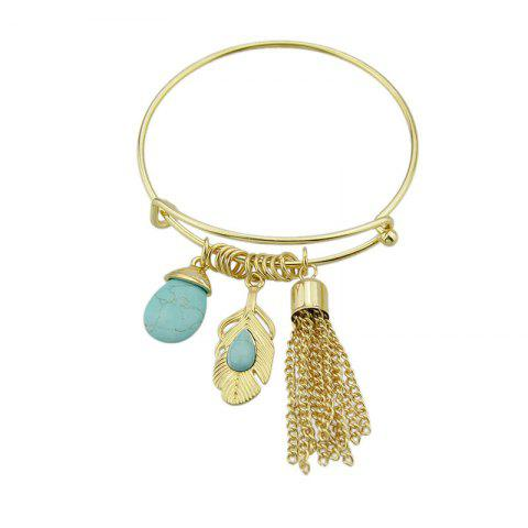 Trendy Faux Turquoise Teardrop Fringed Feather Bracelet - GOLDEN  Mobile