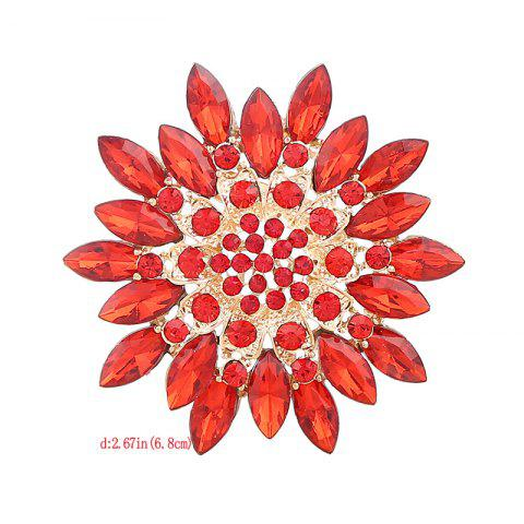 Hot Rhinestone Sparkly Flower Brooch - RED  Mobile