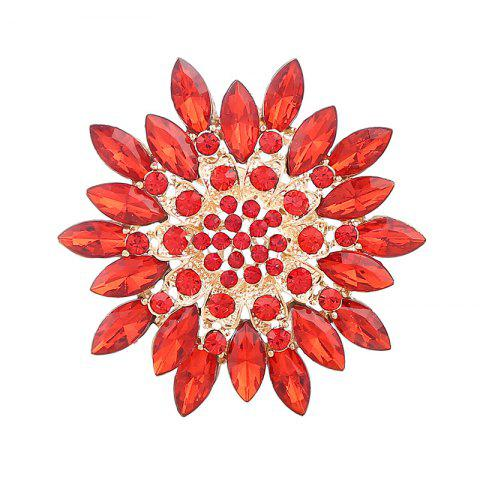 New Rhinestone Sparkly Flower Brooch - RED  Mobile