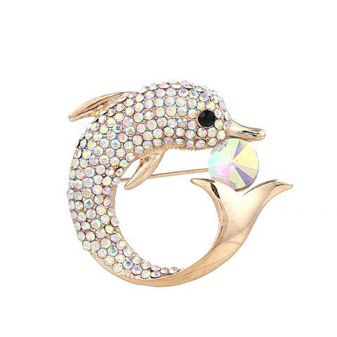 Buy Rhinestone Dolphin Sparkly Brooch - GOLDEN  Mobile