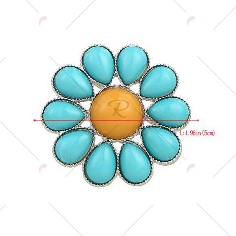 New Round Teardrop Floral Brooch - BLUE  Mobile