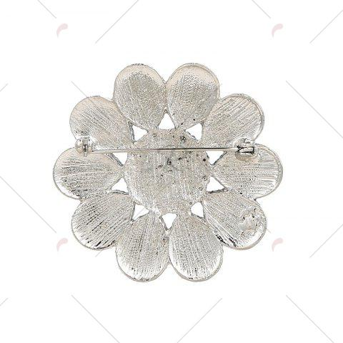 Outfits Round Teardrop Floral Brooch - BLUE  Mobile