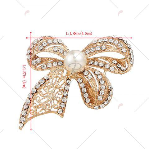 Store Faux Pearl Rhinestoned Bows Brooch - GOLDEN  Mobile