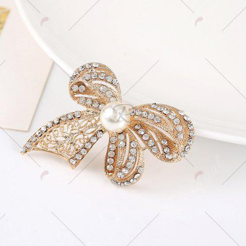 Latest Faux Pearl Rhinestoned Bows Brooch - GOLDEN  Mobile