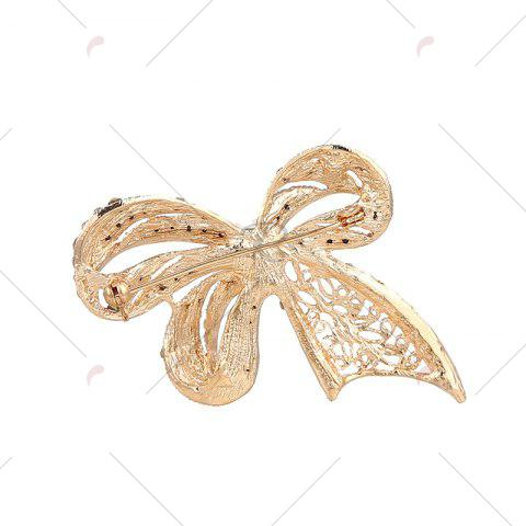 New Faux Pearl Rhinestoned Bows Brooch - GOLDEN  Mobile