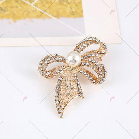 Outfits Faux Pearl Rhinestoned Bows Brooch - GOLDEN  Mobile