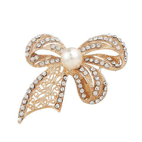 Online Faux Pearl Rhinestoned Bows Brooch GOLDEN
