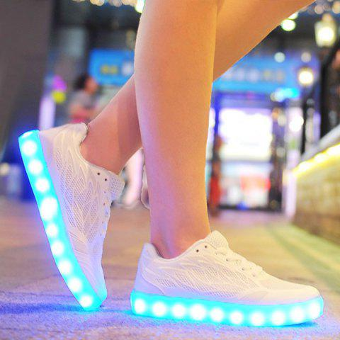 Breathable Led Luminou Athletic Shoes - White - 37
