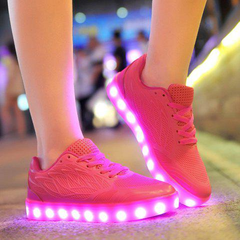 Chic Breathable Led Luminou Athletic Shoes - 39 ROSE RED Mobile