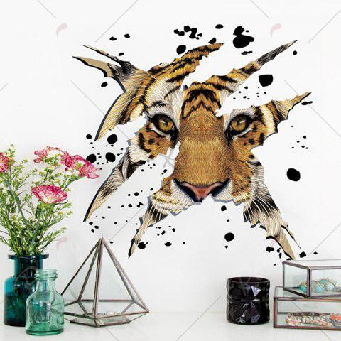 Discount Home Decorative 3D Tiger Head Shape Wall Sticker - LIGHT BROWN  Mobile