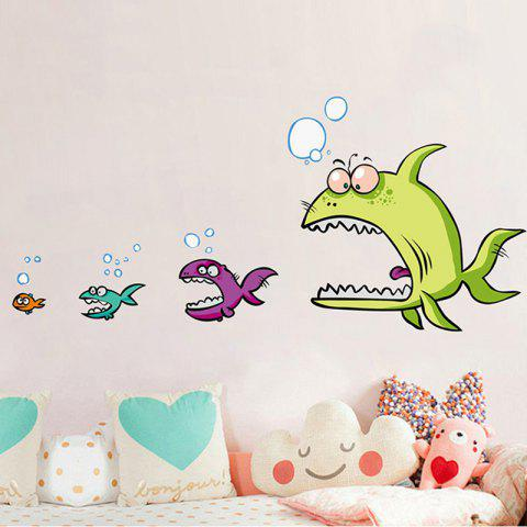 Hot Cartoon Piranha Shape DIY Wall Sticker COLORMIX