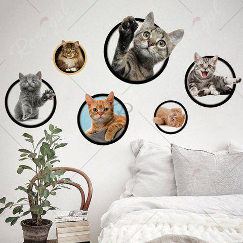 Affordable 3D Cat Pattern Wall Sticker - COLORFUL  Mobile